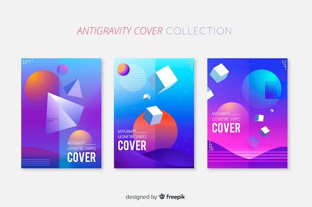 Pack folletos formas geométricas 3d flotando