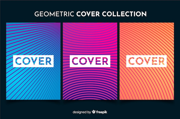 Pack folletos líneas geométricas coloridas