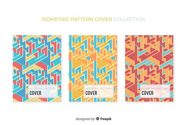 Pack folletos patrón colorido isométrico