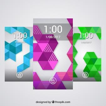 Pack de fondos de formas geométricas de colores para móvil