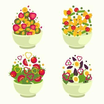 Pack de frutas y ensaladeras