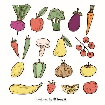Pack frutas y verduras coloridas dibujadas a mano