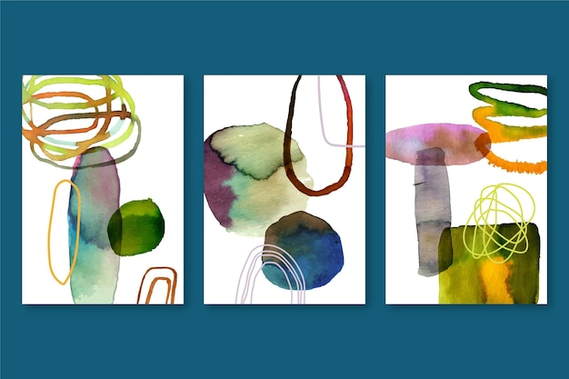 Pack de fundas de acuarela abstracta con diferentes formas