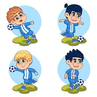 Pack de futbolista de dibujos animados