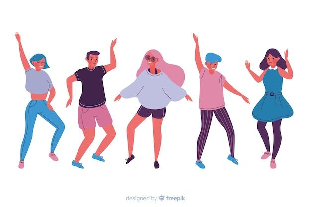 Pack gente bailando dibujado a mano