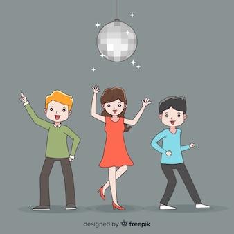 Pack gente dibujada a mano bailando