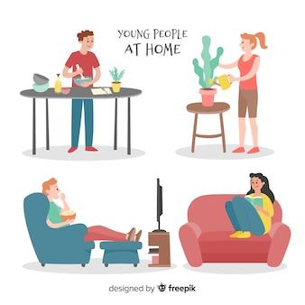 Pack gente dibujada a mano en casa