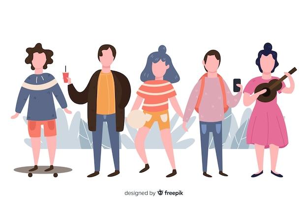 Pack gente haciendo actividades en el exterior dibujada a mano
