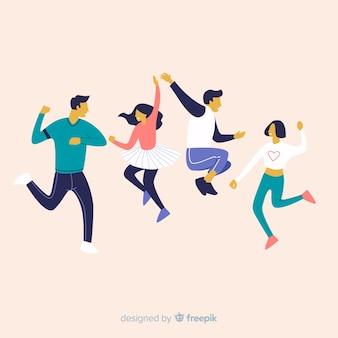 Pack gente joven dibujada a mano bailando
