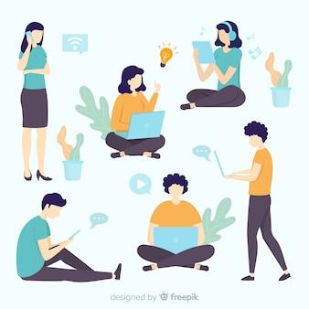 Pack gente joven dibujada a mano usando dispositivos tecnológicos