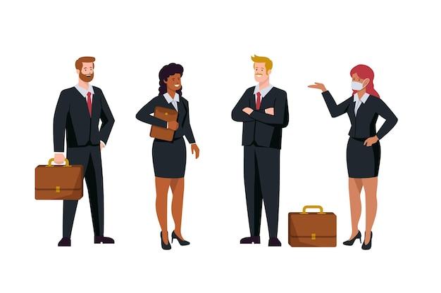 Pack de gente de negocios diseño plano