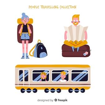 Pack gente viajando dibujada a mano
