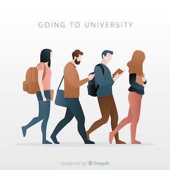 Pack gente yendo a la universidad