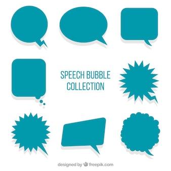 Pack de globos de diálogos verdes en diseño plano