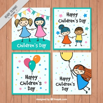 Pack de graciosas tarjetas con dibujos del día del niño