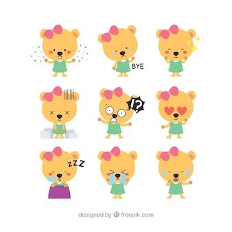Pack gracioso de pegatinas de niña adorable