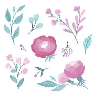 Pack de hermosas flores dibujadas a mano