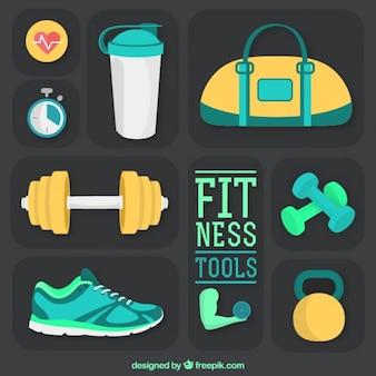Pack herramientas de fitness en un estilo plano