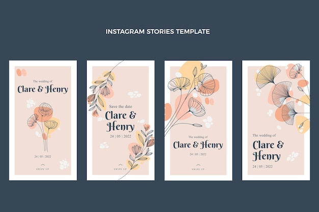 Pack de historias de instagram florales en acuarela