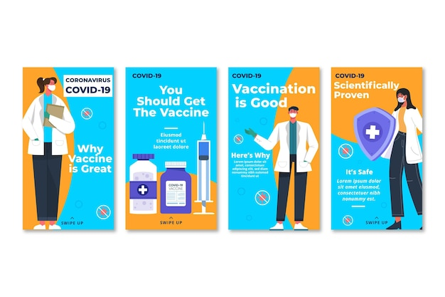 Pack de historias de instagram de vacunación