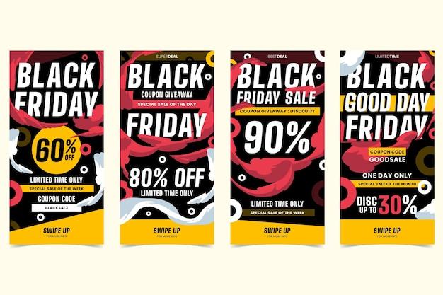 Pack de historias de instagram de viernes negro de diseño plano