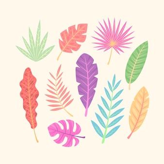 Pack de hojas tropicales abstractas