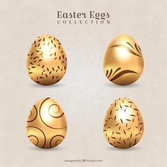 Pack de huevos de pascua decorativos dorados