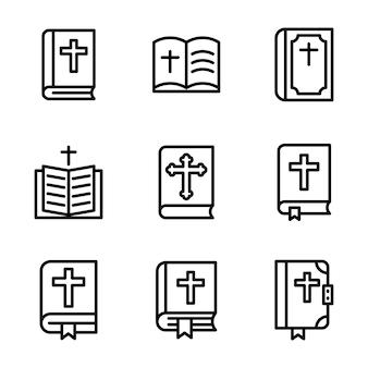 Pack de icono de línea de la biblia