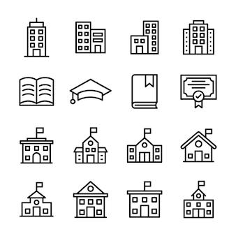 Pack de icono de línea de educación