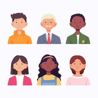 Pack de iconos de diferentes personas dibujadas a mano
