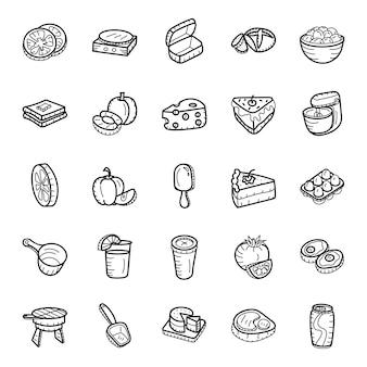 Pack de iconos incompletos con comida pack