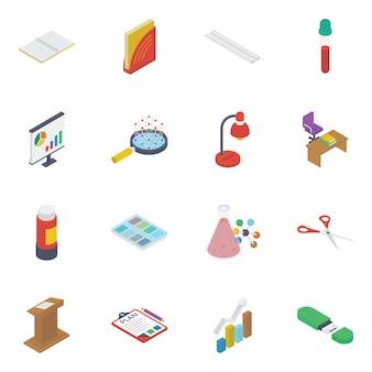 Pack de iconos isométricos de ciencia