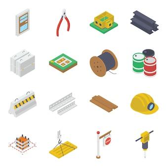 Pack de iconos isométricos de equipos de construcción
