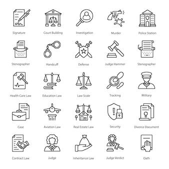 Pack de iconos de ley y justicia
