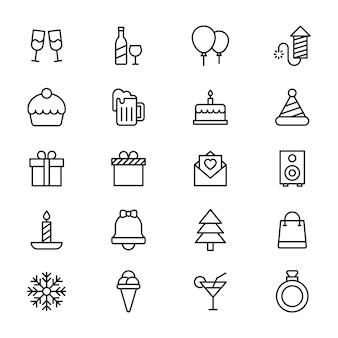 Pack de iconos de línea de celebración de fiesta