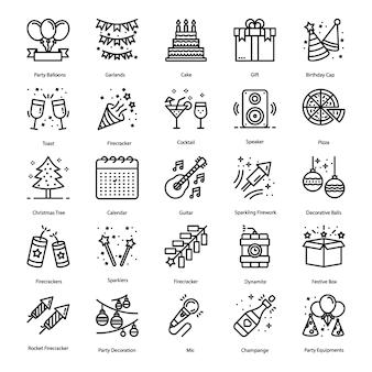 Pack de iconos de línea de elementos de fiesta