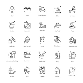 Pack de iconos de línea de restaurante