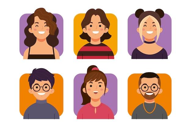 Pack de iconos de perfil dibujados a mano