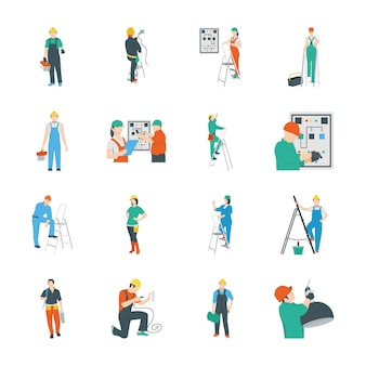 Pack de iconos de personas eléctricas