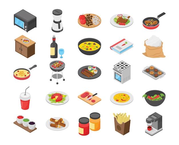 Pack de iconos planos de cocina
