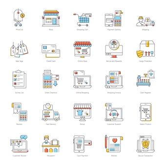 Pack de iconos planos de comercio electrónico