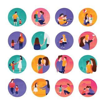 Pack de iconos planos del día de las madres y padres