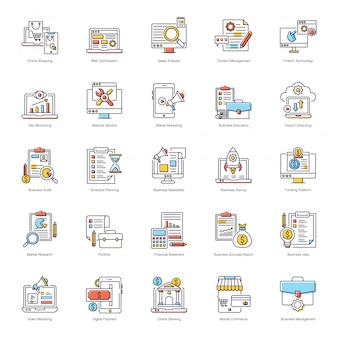 Pack de iconos planos de negocios e