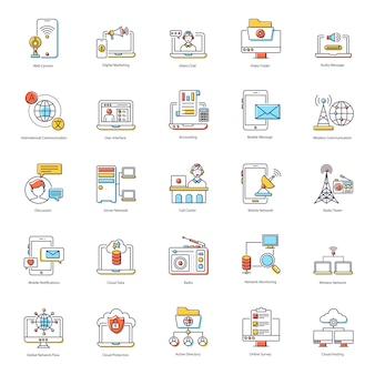 Pack de iconos planos de redes