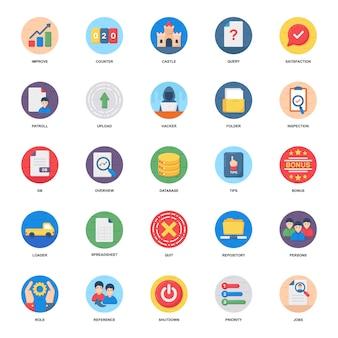 Pack de iconos planos relacionados con negocios