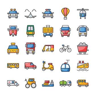 Pack de iconos planos de transporte