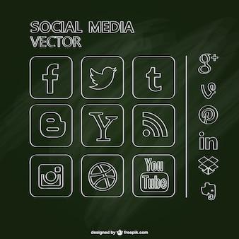 Pack de iconos de redes sociales con textura de pizarra