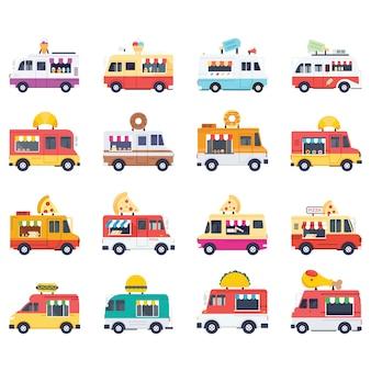 Pack de iconos de vector plano de furgonetas de comida