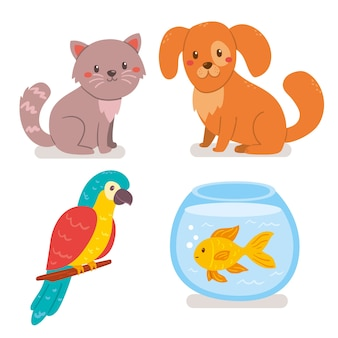 Pack de ilustración de diferentes mascotas