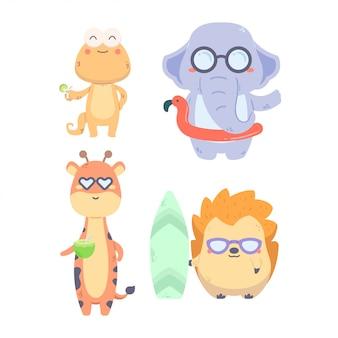 Pack ilustración linda colección animal